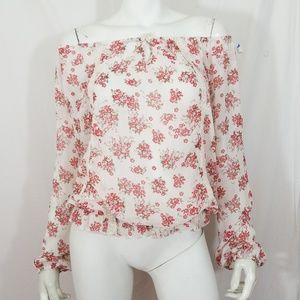 Floral & lace on/off shoulder tunic top blouse
